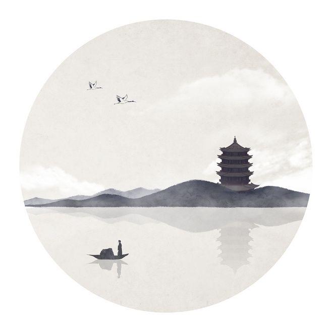 黄鹤楼山水墨画@一若青红采集到我的(116图)_花瓣平面