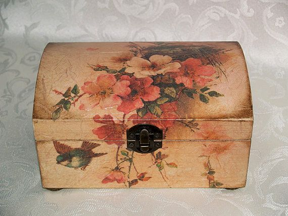Decoupage jewelry box mini cummode Romance by HandmadeDecoupage, $50.00