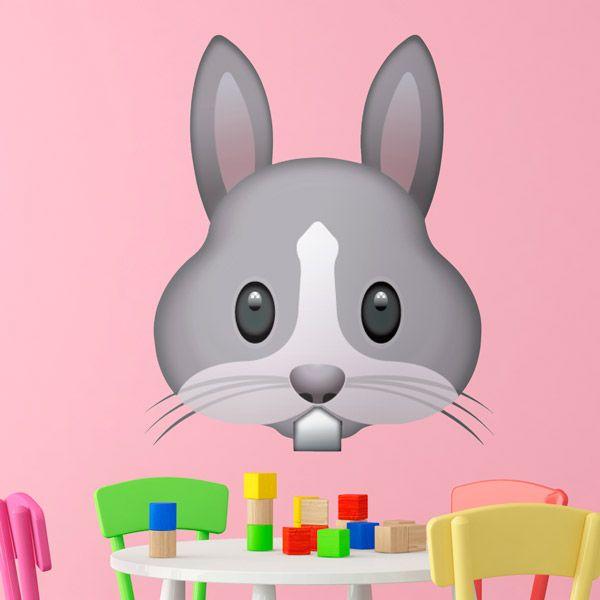 Adesivi Murali: Faccia di coniglio #vinili #emoji #emoticon #decorazione #muro #parete #faccias #animali #StickersMurali