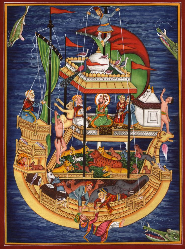 Depiction of Noah's Ark and the Flood by an artist from India. Most cultures around the world have a version of the flood story to tell.