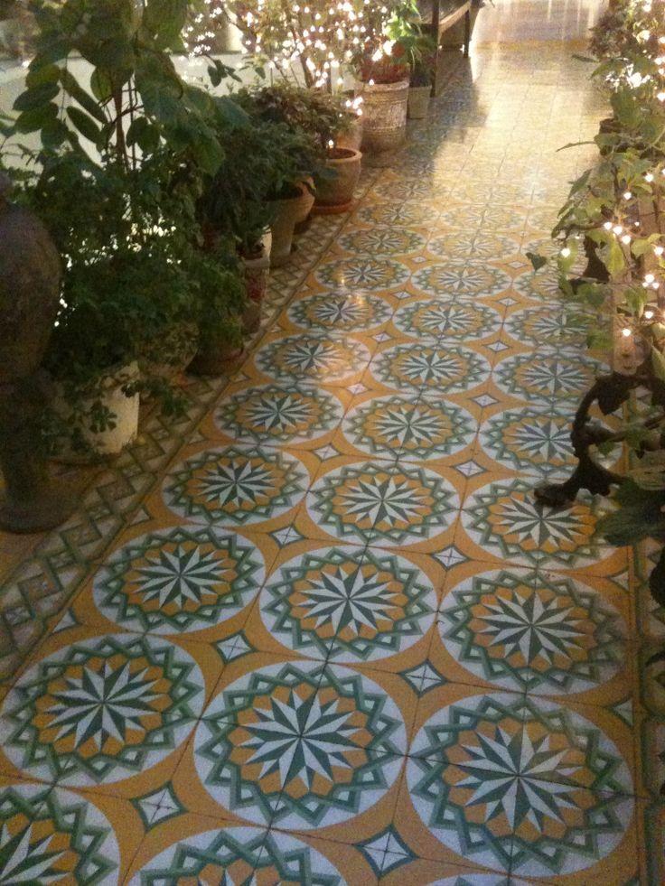 beautiful french tile in Hong Kong at agnes b.