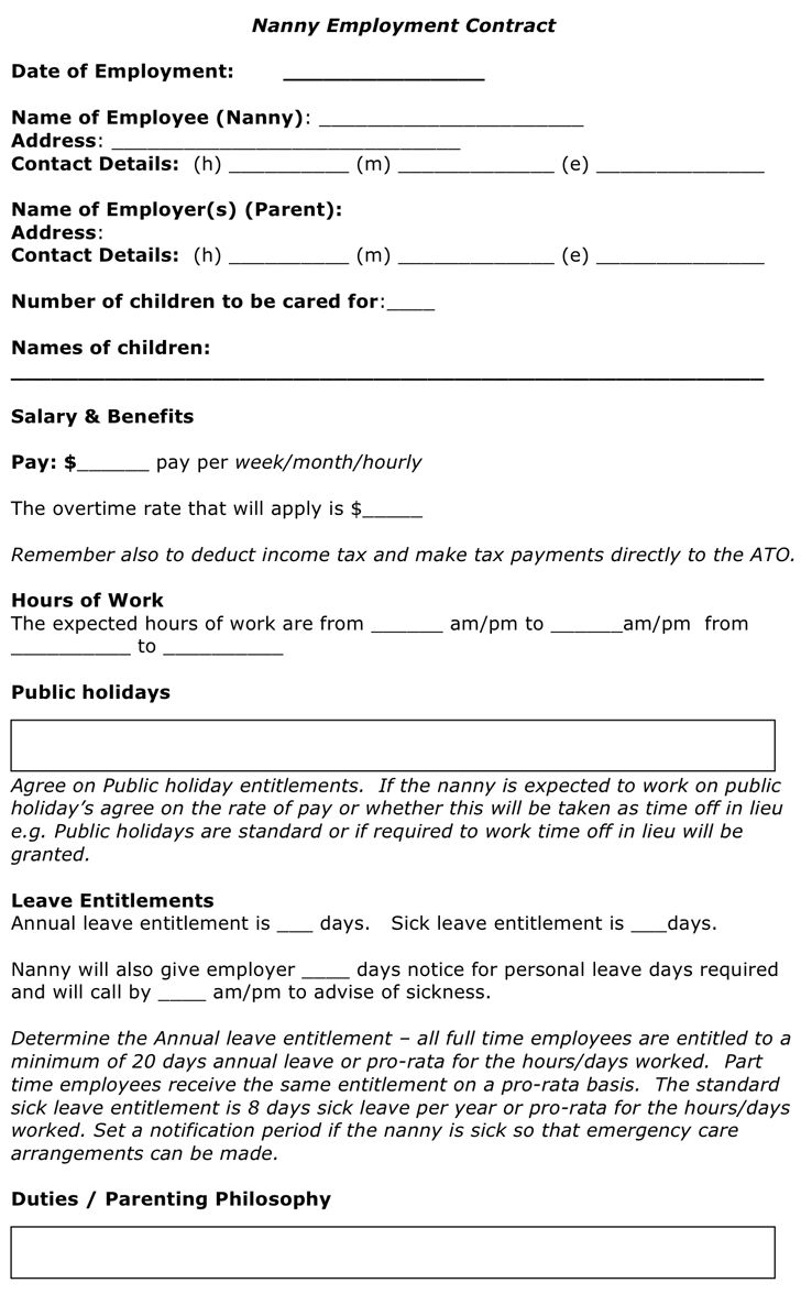 Nanny Employment Contract Nanny Contract Template Nanny Contract Part Time Nanny Part time nanny contract template