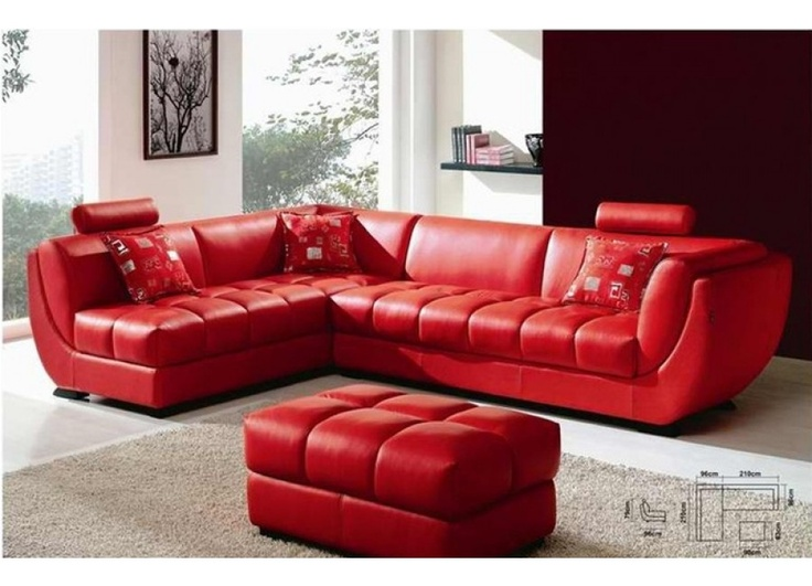 Louella Cherry Red Leather Sectional Sofa Furniture