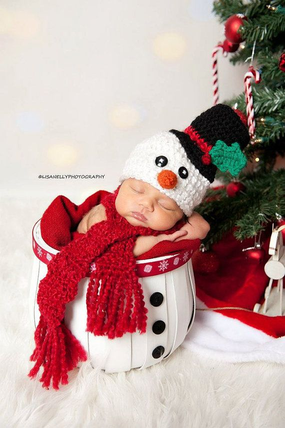 Crochet Newborn, 0-3M, 3-6M Baby Boy/Girl Frosty The Snowman Scarf and Hat Beanie Set, Custom Made Christmas Holiday Photo Photography Prop via Etsy