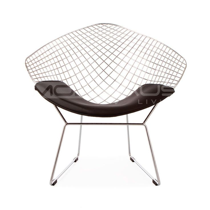 ModHaus Mid Century Modern Bertoia Style Chrome Diamond Accent Chair with Black Faux Leather Seat Pad