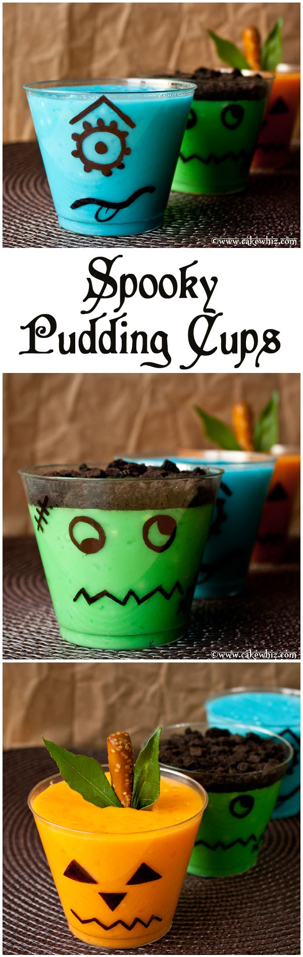Spooky pudding cups for Halloween! Kids go crazy for these, every year! ;) From cakewhiz.com