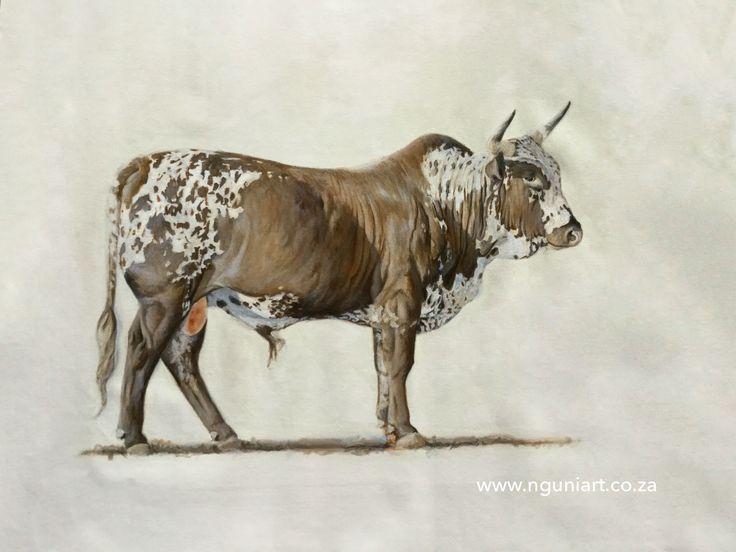 """Ubaba"" Nguni Bull, oil on canvas 800mm x 600mm"