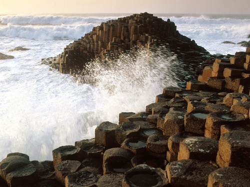 To walk along Ireland, rocky shore and visit the Giant's Causeway