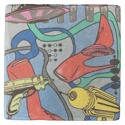 #modern - #'MidCentury Mod Glamour Invasion' painting on a Stone Coaster
