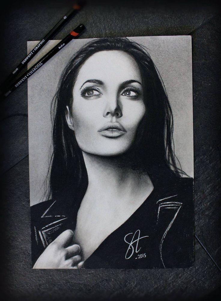 Angelina Jolie potrait by Sanna Angervaniva @ La Muerte Ink