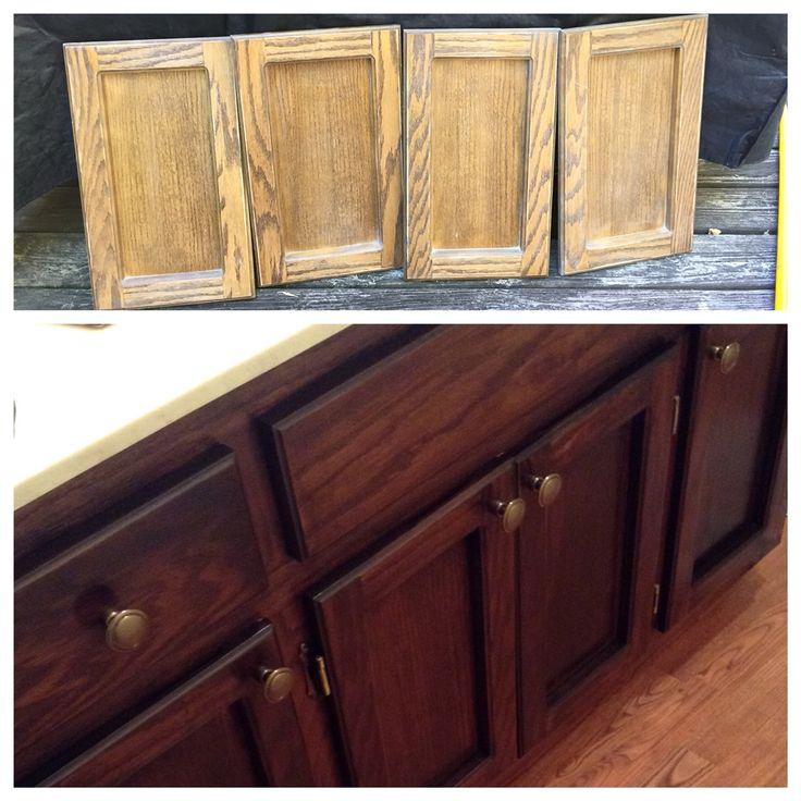 General Finishes Java Gel Stain before/after.