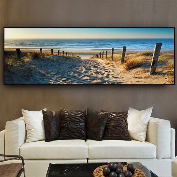 Seaan Canvas Paintings Wall Art Landscape Paintings Modern Beach Abstract Picture For Home Living Room Decor No Frame In 2021 Beach Canvas Wall Art Wall Art Canvas Painting Beach Canvas Canvas for living room uk