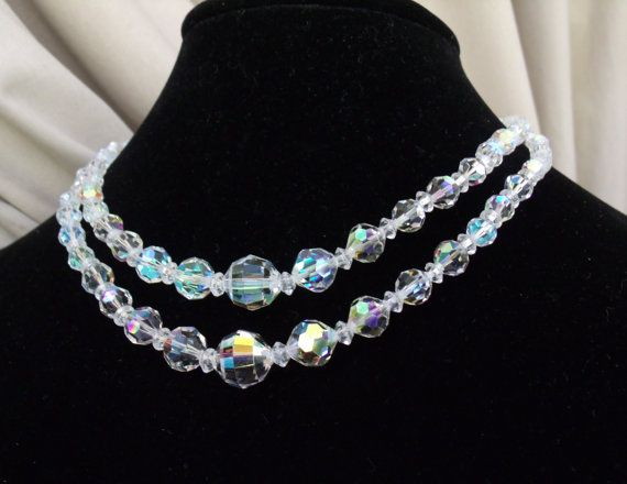 Vintage Aurora Borealis AB Necklace Double Strand by AntiqueMee