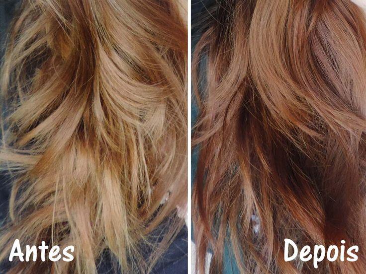 Antes e depois - cabelo natural loiro médio dourado acobreado com Banho de Brilho Keraton Cobre