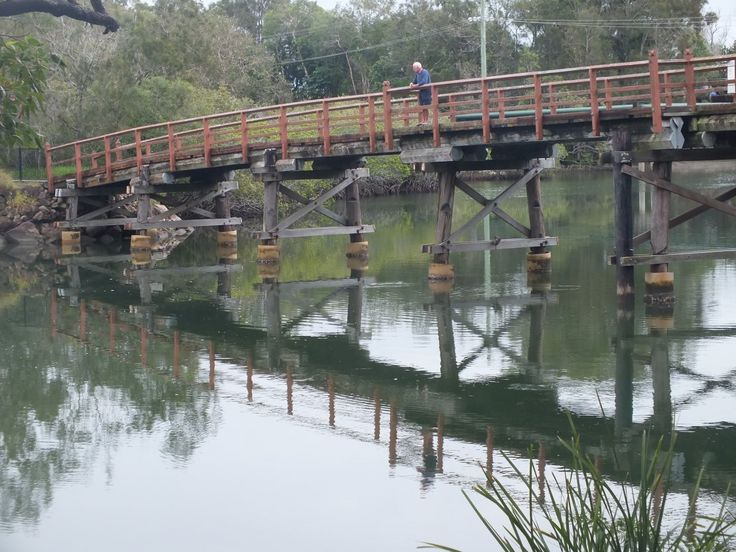 The first Weyba Bridge, then called Alexandra Bridge, fell down after years of attack by marine borers. This second wooden bridge was built in 1929 by T.M. Burke for the opening of Sunshine Beach.