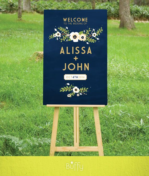 $20 on ETSY | A Navy & Gold Chalkboard Wedding Welcome sign is the perfect introduction to your special day. A mix of art deco and modern type, paired with vintage rustic flowers that I hand painted in watercolor. Perfect for an outside wedding.