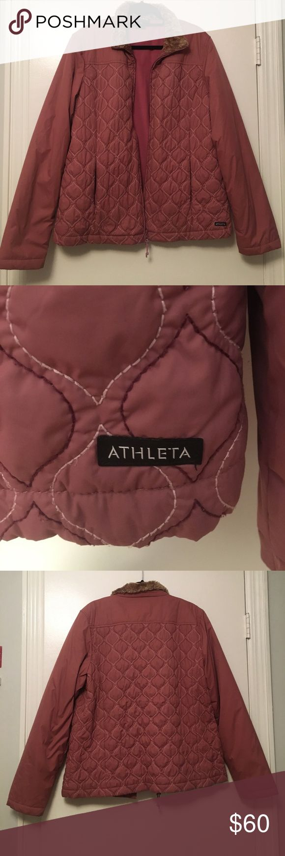 Athleta Light Puffer Coat‼️ Athleta Pink Puffer coat with faux fur trim around the collar. Runs true to size, lightweight and fleece lined Athleta Jackets & Coats Puffers