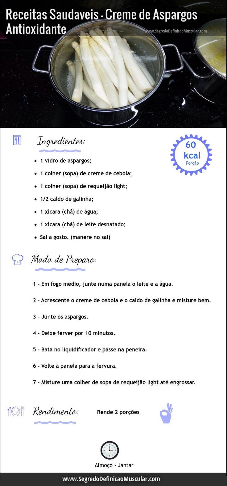 Creme de Aspargos Antioxidante  ➡ http://www.segredodefinicaomuscular.com/receitas-saudaveis-creme-de-aspargos-antioxidante  #Aspargos