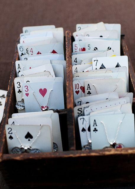 Playing cards to hold and display jewelry