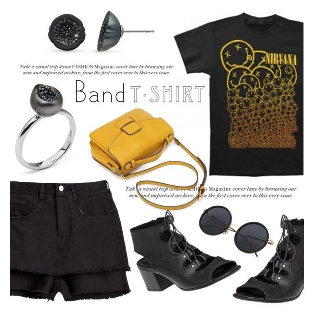 """""""I'm With the Band"""" by littlehjewelry ❤ liked on Polyvore featuring Pearl & Black, 275 Central, bandtshirt, contestentry, bandtee, pearljewelry and littlehjewelry"""