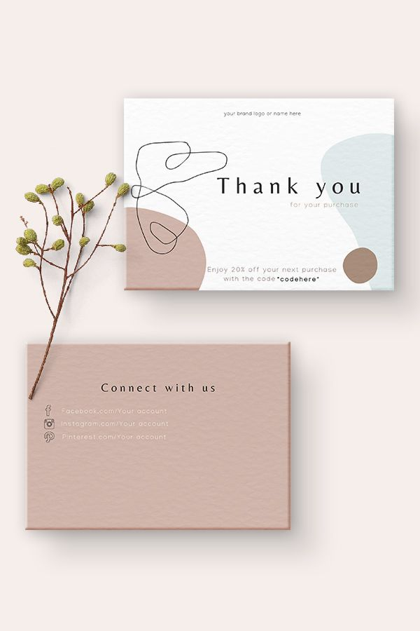 Minimalist Thank You Card Business Stationery Business Card Etsy Small Business Cards Thank You Card Design Graphic Design Business Card