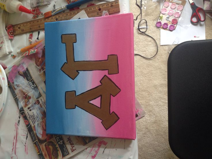Delta gamma ombre letter canvas painting