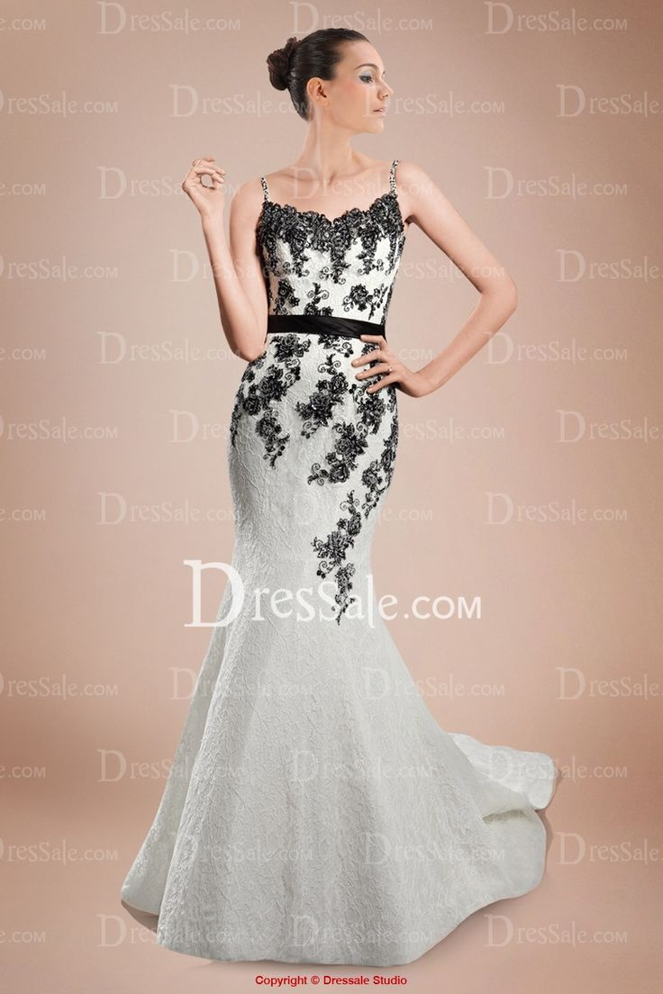 Outstanding Spaghetti Mermaid Bridal Gown with Delicate Contrasting Appliques