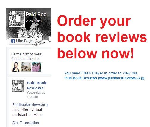 Paid Book Reviews is a team of writers who understand the effect of positive customer reviews on your book sales.  http://www.paidbookreviews.org/  #Paid_book_reviews #Paid_book_reviews_on_amazon #Paid_book_review_sites
