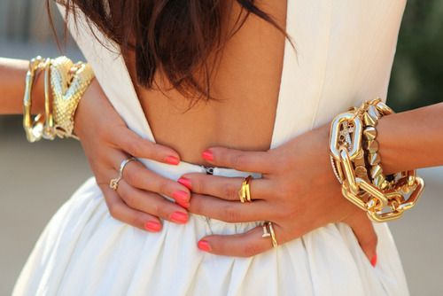 White and gold: Arm Candy, Nails Colors, Backless Dresses, The Dresses, White Gold, Gold Jewelry, Coral Nails, Gold Accessories, Open Back