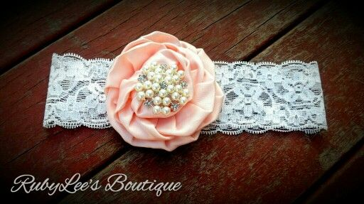 #Peach #Pearl #White #Lace #Headband #RubyLee'sBoutique