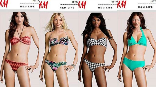Same body, different heads! H & M does this. They use a computer generated photo to display their clothes. They aren't even using real bodies to model their clothes. This is what scares me about the fashion/ beauty industry.