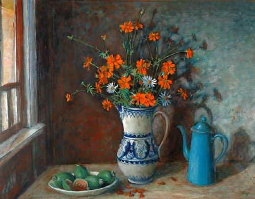 Margaret Olley | Still Life with Flowers in a Blue and White Jug circa 1975 1975oil on composition board, 75 x 100 cm