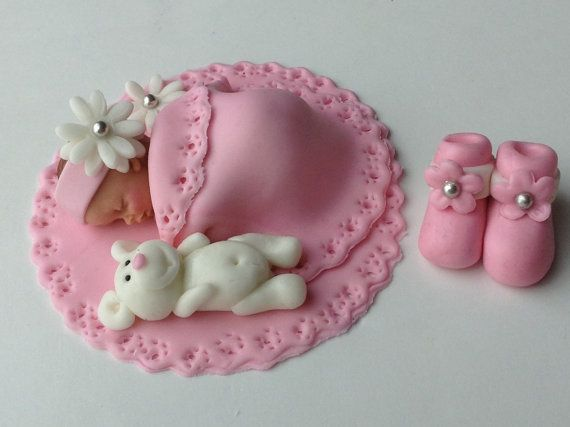 BABY SHOWER CAKE Fondant Cake Topper Baby girl edible cake topper Baby Quilt Baby Booties on Etsy, $35.00