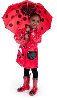 Kidorable Lady Bug Rain Coat with matching boots. Kids rain coats and kids rain gear can be fun!