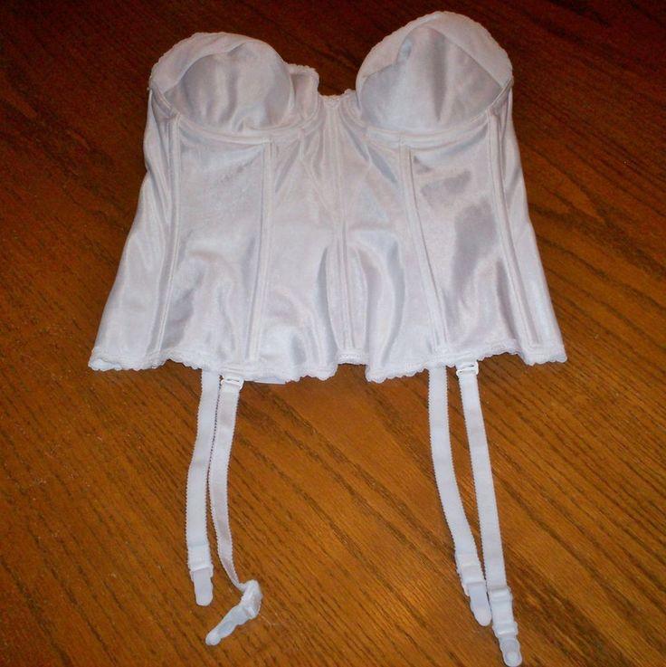 NWT White Carnival Sz 38C Style 424 Strapless Corset Bra Bustier Garters OPP $64 #Carnival #FullCoverageBras