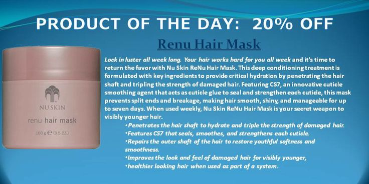 PRODUCT OF THE DAY:  20% Renu Hair Mask www.bemaskell.nuskin30.com  Deep conditioning treatment provides critical hydration - Penetrates the hair shaft to hydrate and triple the strength of damaged hair. - Features CS7 that seals, smoothes, and strengthens each cuticle. - Repairs the outer shaft of the hair to restore youthful softness and smoothness. - Improves the look and feel of damaged hair for visibly younger, healthier looking hair when used as part of a system.