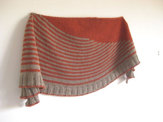 Handmade Knitted Stripes Shawl Unique Shawl Orange di AtelierBusas