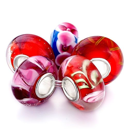 New Year Deals - 5  pcs red blue flower fit and charmilia murano glass beads charms bracelets all brands Image.