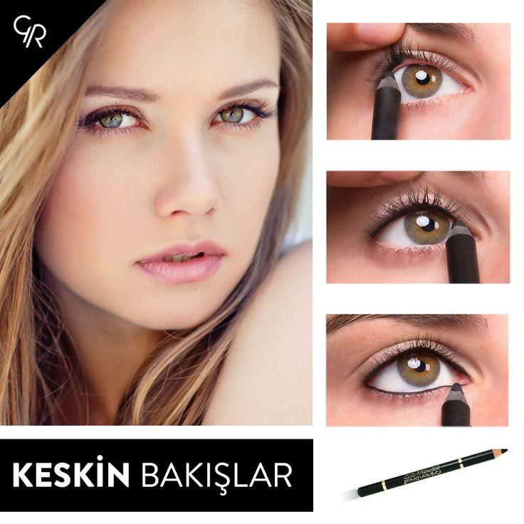 <Adım Adım Keskin Bakışlar>  Gözlerinize keskin bakışlar katmak için Golden Rose Eyeliner Pencil ile gözlerinizin alt ve üst kısımlarına kalem çekerek, dikkat çekici bakışlar elde edebilirsiniz.  Modern ve zengin renk alternatiflerini keşfetmek için hemen tıklayın: http://goo.gl/GFW5YP  #bakışlarınızınsırrı