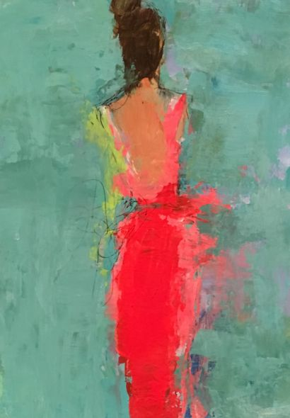 The bright red is intensified against the low saturated green. This is also a good example of contrasting colors.   Holly Irwin Fine Art, a lady in Red