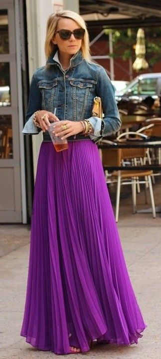 Denim Jacket, Purple Maxi Pleated Skirt | Atlantic Pacific