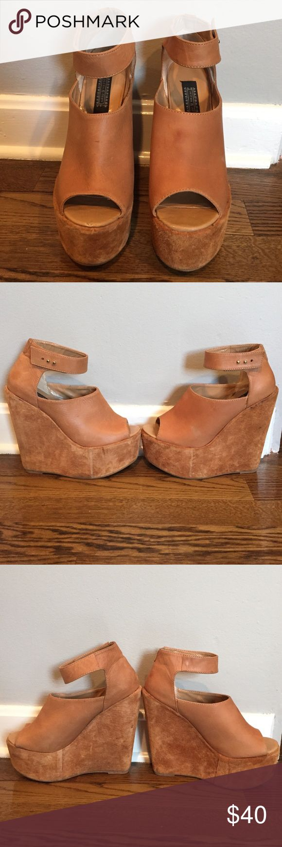 "Deena & Ozzy Wedges Platform Wedges. Brown leather with brown suede bottom. Some signs of wear as pictured but could possibly be removed with a good cleaning. 6"" heel height Deena & Ozzy Shoes Wedges"