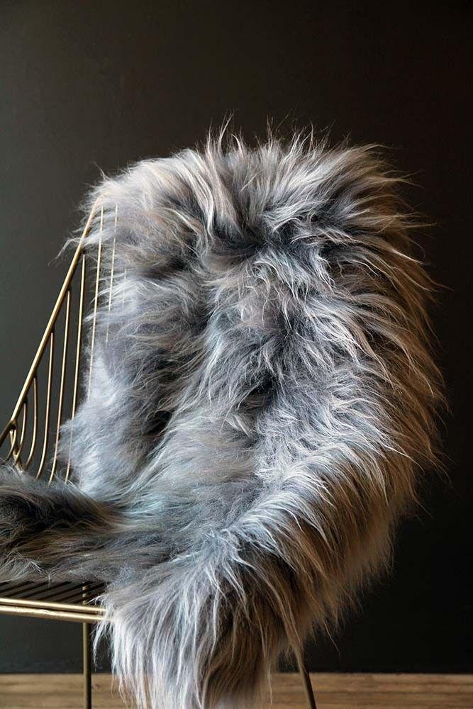 Genuine Icelandic Long Wool Sheepskin Silver From Rockett St George Sheepskin Rug Rockett St George Sheepskin