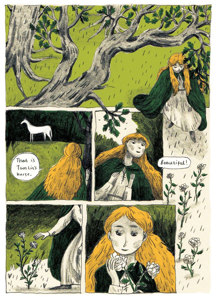 Work in progress, Comic based on the ballad 'Tam Lin.'   'When she came to Carterhaugh,  'Tam Lin was at the well,  'And there was his fine steed standing,  'But away was himself  'She had pulled not pulled a double rose,  'A rose but only two,  'Till up came then young Tam Lin…'