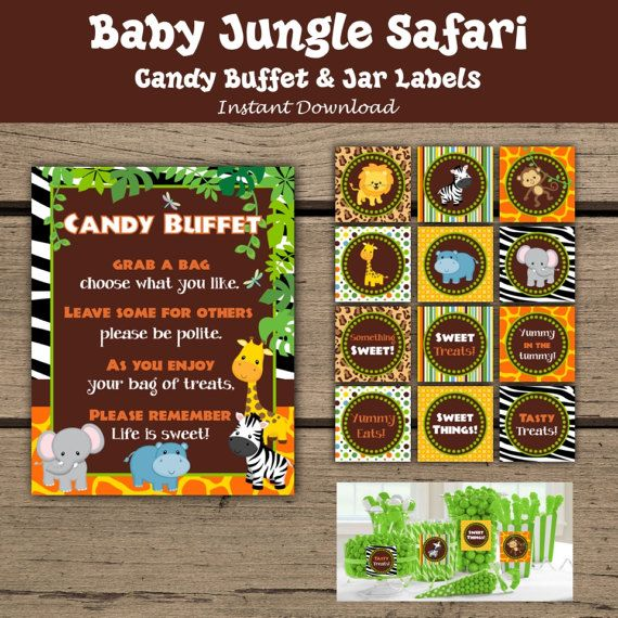 Custom Baby Jungle Safari Candy Buffet Sign. Candy Buffet Jar Labels. Jungle Baby Shower. Safari Baby Shower. - Instant Download