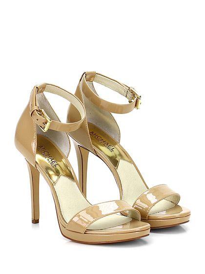Michael Kors - Sandalo alto - Donna - Sandalo alto in vernice con cinturino alla caviglia e suola in gomma. Tacco 110, platform 20 con battuta 90. - NUDE - € 150.00