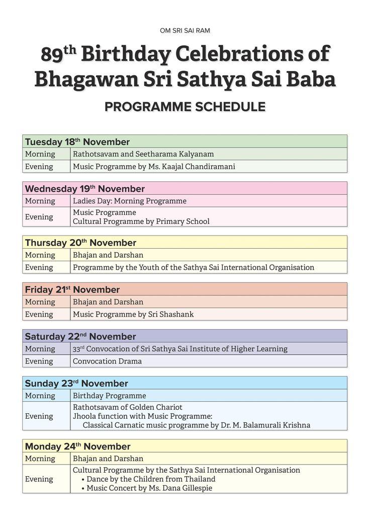89th Birthday Celebrations of Bhagawan Sri Sathya Sai Baba