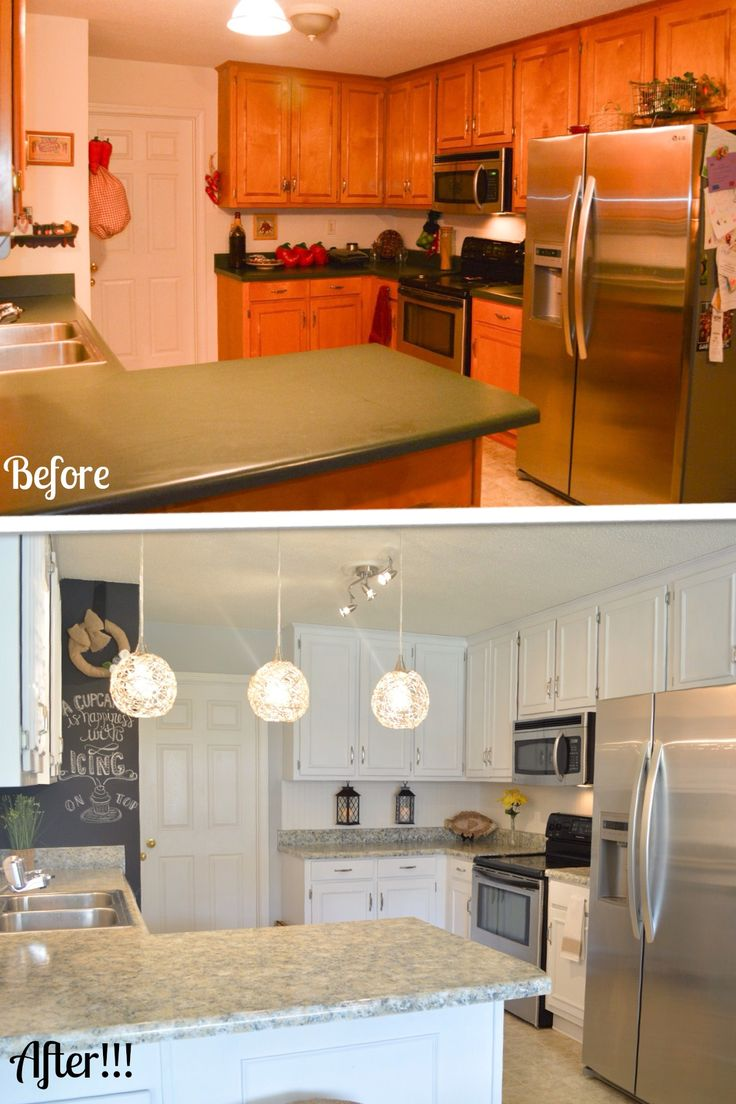 Kitchen makeover on a budget.  Remodel your cabinets and countertops with paint for under $200!  www.gianigranite.com www.nuvocabinetpaint.com