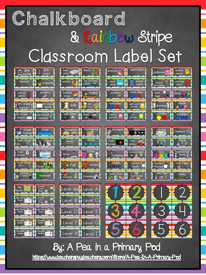 """Get ready to for Back to School and organize your class with ease!  My """"Chalkboard and Rainbow Stripe"""" Classroom Label set has everything you need to organize and label supplies, toys, manipulatives, book bins, book baskets, and tables!"""