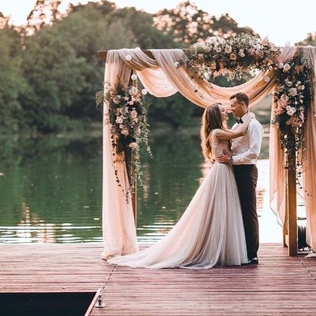Blush Pink Wedding Decor On The Lake Ceremony Tulle Ribbon Archway
